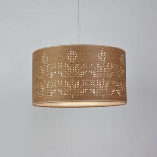 Pakabinamas medinis šviestuvas su etniniais augaliniais elementais